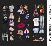 vector set with fashion and... | Shutterstock .eps vector #429486844