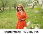 portrait of redhead girl in... | Shutterstock . vector #429489445