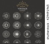 set of vintage sunburst. hand... | Shutterstock .eps vector #429491965