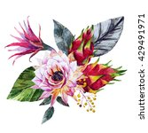 watercolor floral bouquet ... | Shutterstock . vector #429491971