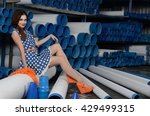 the sexual girl with pvc pipes | Shutterstock . vector #429499315