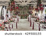 wedding event hall with floral...   Shutterstock . vector #429500155