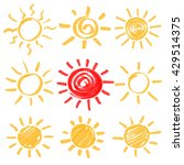 Set Of Sun Symbols Hand Drawn...