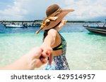 woman wanting her man to follow ... | Shutterstock . vector #429514957