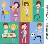 collection of happy children in ... | Shutterstock .eps vector #429522661