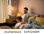couple relaxing at home and... | Shutterstock . vector #429524089