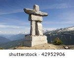 Inukshuk on top of Whistler mountain, Canada. - stock photo
