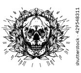 art of skull with roses leafs... | Shutterstock .eps vector #429548311