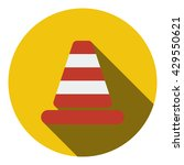 icon of traffic cone. flat...