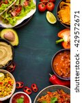 mixed mexican food background.... | Shutterstock . vector #429572671