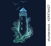 lighthouse in the storm vector... | Shutterstock .eps vector #429576427