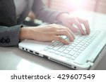business woman hand typing on... | Shutterstock . vector #429607549