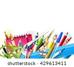 school background with school... | Shutterstock .eps vector #429613411