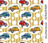 retro car. vintage. striped... | Shutterstock .eps vector #429635989