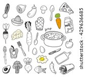 hand drawn doodle food vector... | Shutterstock .eps vector #429636685