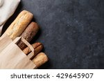 mixed breads on stone table.... | Shutterstock . vector #429645907