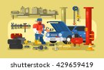 mechanic repairs car in the... | Shutterstock .eps vector #429659419