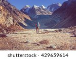 hiker in himalayas mountain.... | Shutterstock . vector #429659614