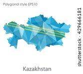 kazakhstan map in geometric... | Shutterstock .eps vector #429666181