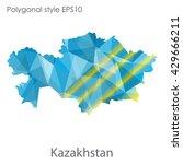 kazakhstan map in geometric... | Shutterstock .eps vector #429666211