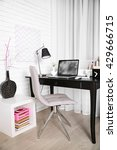 workplace with laptop on table... | Shutterstock . vector #429666715