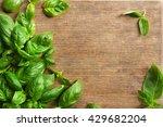 fresh basil leaves on wooden... | Shutterstock . vector #429682204
