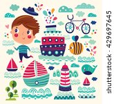 summer vector illustration with ... | Shutterstock .eps vector #429697645