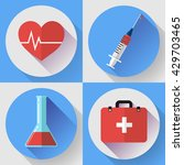 trendy flat medical icons with... | Shutterstock .eps vector #429703465