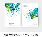 scatter triangles / vector white business brochure cover template.modern abstract geometric background green and blue triangles. | Shutterstock vector #429721945