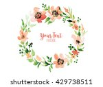 floral wreath round. watercolor ... | Shutterstock . vector #429738511