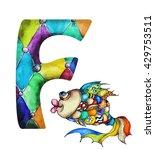 font f  watercolor hand drawn ... | Shutterstock . vector #429753511