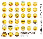big emoticons set on white... | Shutterstock .eps vector #429775291