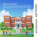 happy school children in front...   Shutterstock .eps vector #429795487