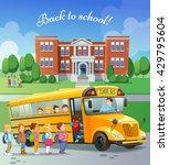 children get on school bus...   Shutterstock .eps vector #429795604