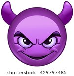 smiling face with horns. purple ... | Shutterstock .eps vector #429797485