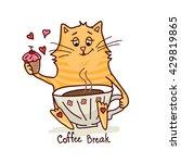 cute cartoon hand drawn cat... | Shutterstock .eps vector #429819865