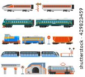 rail transport flat colorful... | Shutterstock .eps vector #429823459