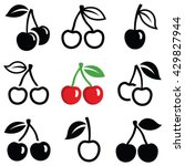 cherry icon collection   vector ... | Shutterstock .eps vector #429827944