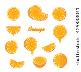 set of ripe oranges and fresh... | Shutterstock . vector #429833041
