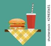 hamburger with soda on napkin... | Shutterstock .eps vector #429835651