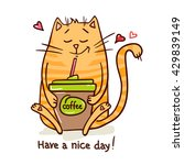 cute cartoon hand drawn cat... | Shutterstock .eps vector #429839149