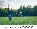 young man and girl playing... | Shutterstock . vector #429850135