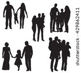 isolated silhouette family with ... | Shutterstock .eps vector #429862411