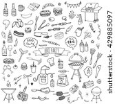 hand drawn doodle bbq party... | Shutterstock .eps vector #429885097