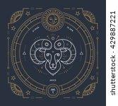 vintage thin line aries zodiac...   Shutterstock .eps vector #429887221