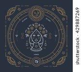 vintage thin line virgo zodiac... | Shutterstock .eps vector #429887269