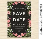 vintage save the date wedding... | Shutterstock .eps vector #429889981