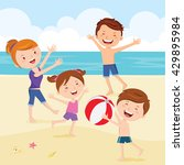 Happy Family Playing Beach Bal...