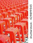red plastic chairs arranged in... | Shutterstock . vector #429899545