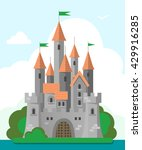 grey castle with red roof in a... | Shutterstock .eps vector #429916285